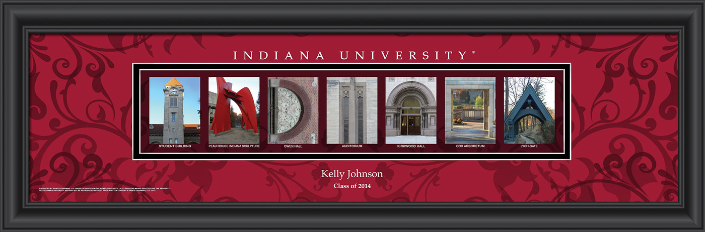 Indiana hoosiers personalized campus letter art for Campus letter art