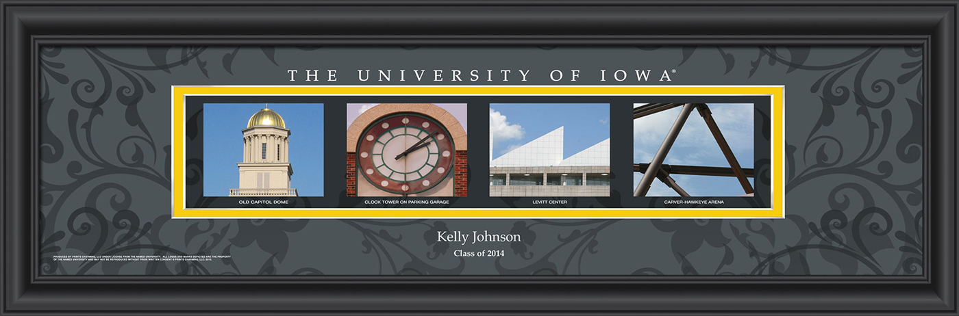 Iowa hawkeyes personalized campus letter art for Campus letter art
