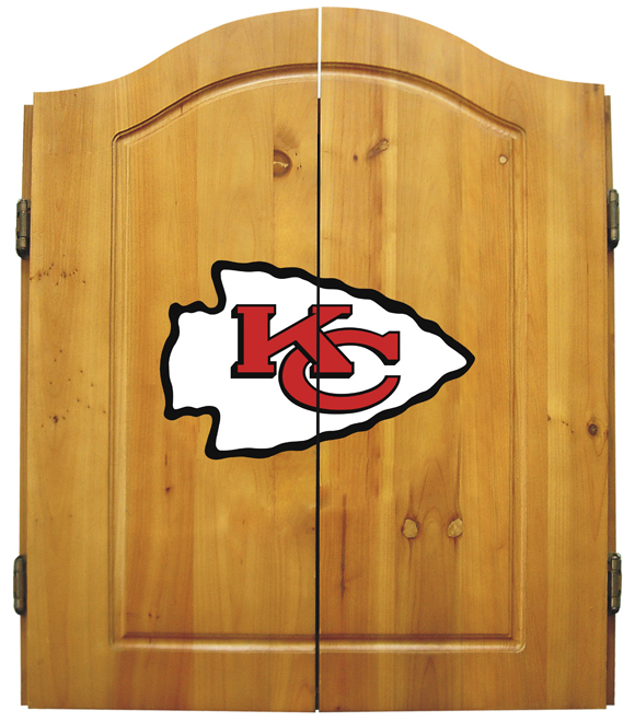 Kansas City Chiefs NFL Complete Dart Board Cabinet Set w/darts  flights