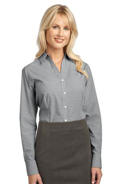 Port authority custom women 39 s plaid pattern easy care for Womens patterned button down shirts