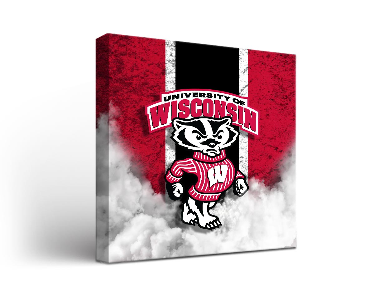 Wisconsin badgers vintage canvas wall art for Vintage basketball wall art