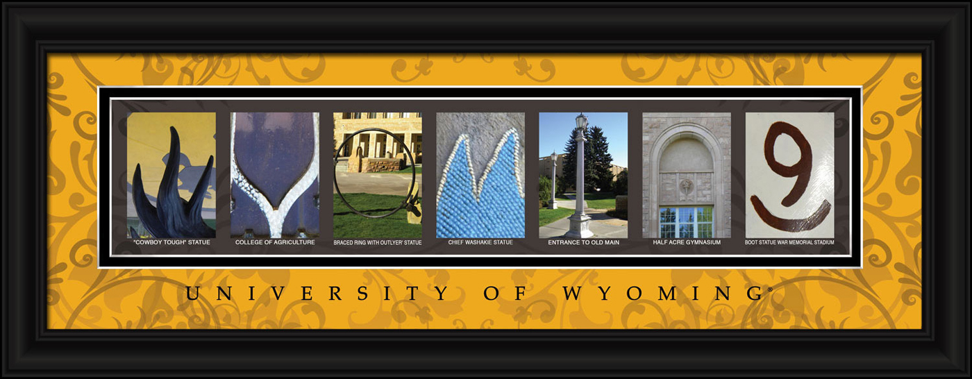 Wyoming cowboys campus letter art for Campus letter art