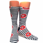 Lip Socks Black and White Stripes
