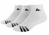 Adidas Cushioned 3 Stripes Men's Quarter Socks, Size 10-13, White, 3-Pack