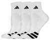 Adidas Cushioned 3 Stripes Quarter Socks, White, 3-Pack