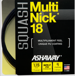 NEW - Ashaway MultiNick Squash String, 18g, Black, SET