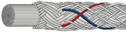 Ashaway SuperNick XL Titanium squash string, Silver with red and blue spiral, SET