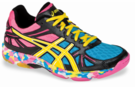 last few - Asics Gel-Flashpoint Squash / Indoor Court Women's Shoes, Black / Yellow / Pink, SIZE 9
