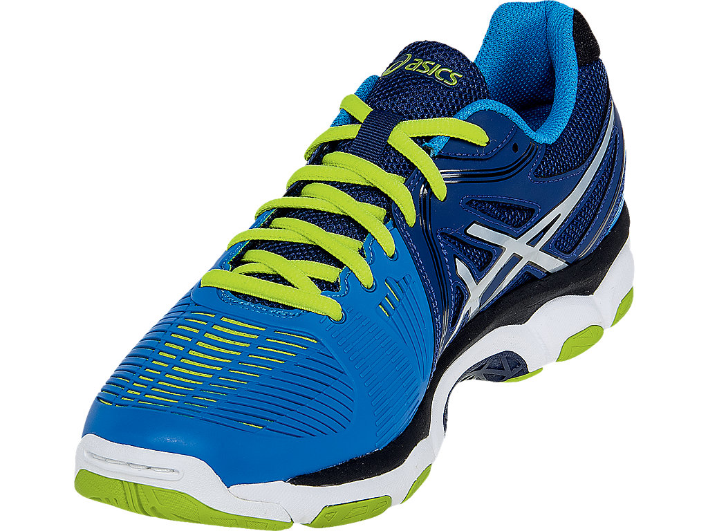 ... Asics Gel Netburner Ballistic Men's Court Shoes, Navy / Silver / Electric  Blue. Full Screen