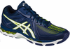 last few - Asics Gel Netburner MT Ballistic Men's Court Shoes, Navy / White / Yellow, SIZE 15