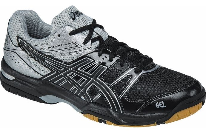 asics gel rocket 7 men 39 s indoor court shoes black silver. Black Bedroom Furniture Sets. Home Design Ideas
