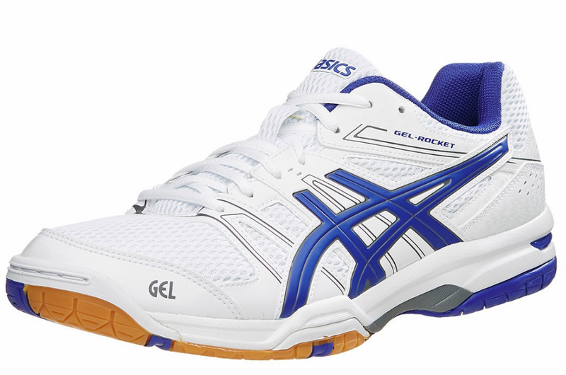 last few - Asics Gel-Rocket 7 Men's Squash / Indoor Court Shoes, White / Asics  Blue / Titanium