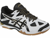 last few - ASICS Gel-Tactic UNISEX Court Shoes, White / Black / Pale Gold, SIZE 12.5 Men's