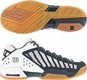 CLOSEOUT - Wilson EM6 Mid Squash / Racquetball Men's Shoes, Navy / White