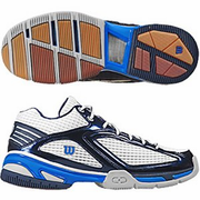 CLOSEOUT - Wilson EM7 Mid Badminton / Squash Men's Shoes, Blue/Silver