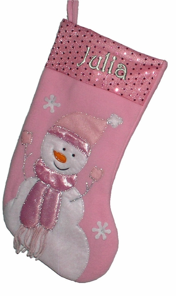 "17"" Pink Christmas Stockings - Snowman"