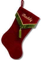 "19"" Burgundy Velvet Christmas Stocking with Green Tassel"