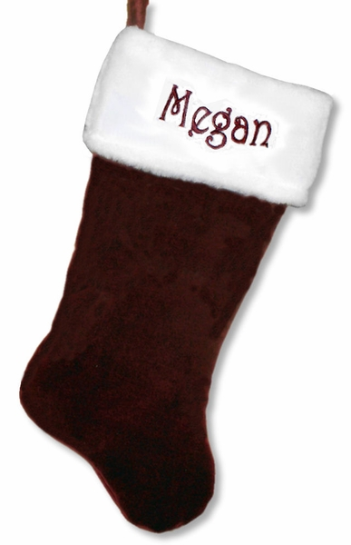 "19"" Dark Burgundy Velvet Christmas Stocking"