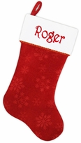 """19"""" Personalized Stocking Velvet Traditional Red White Christmas"""