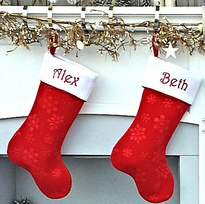 "19"" Personalized Stocking Velvet Traditional Red White Christmas"