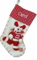 "19"" Red and White Candy Cane Like Reindeer Christmas Stocking"