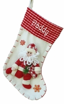 "19"" Red and White Candy Cane Like Santa Christmas Stocking"