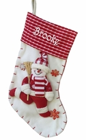 "19"" Red and White Candy Cane Like Snowman Christmas Stocking"