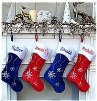 "19"" Red or Royal Blue Personalized Stockings Snowflake Bling"
