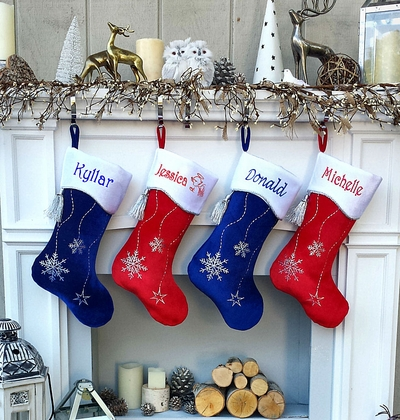 """19"""" Red or Royal Blue Personalized Stockings Snowflake Bling"""