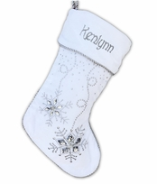 "20"" White Velvet Christmas Stocking with Ice Crystal Gems"