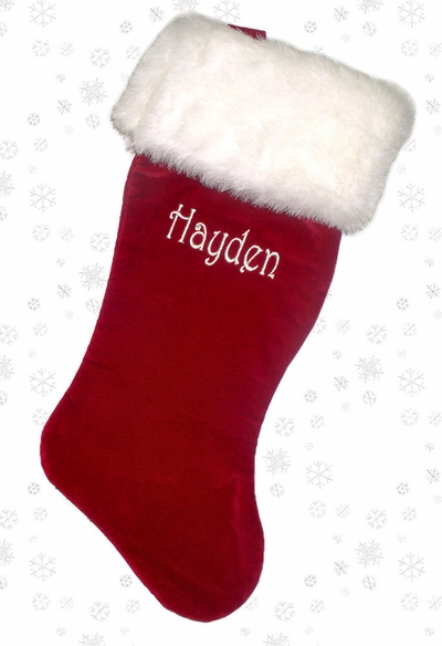 "21"" Luxury Burgundy Velvet Christmas Stocking with Faux Fox Fur"