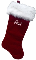 "21"" Dark Burgundy Personalized Velvet Stocking w/Long Fox Fur Cuff"