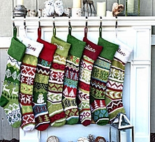 "28"" Large Personalized Knitted Stockings - Fair Isle Knit - Embroidery"