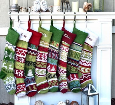 """28"""" Large Personalized Knitted Stockings - Fair Isle Knit - Embroidery"""