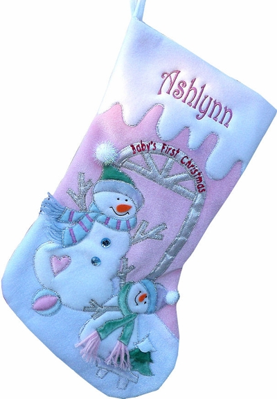 BABYS FIRST CHRISTMAS Stocking Cute Pink Snowman Large Velvet 21""