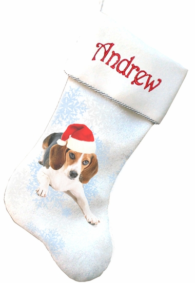 beagle christmas stockings embroidered