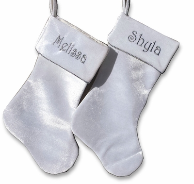 Beautful White Velvet Christmas Stocking