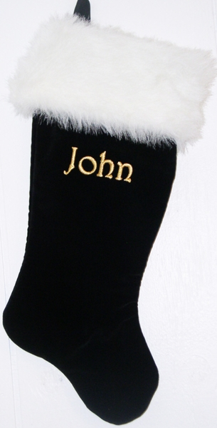 "Black Christmas Stocking - 21"" Velvet"