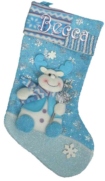 Blue Collection Designer Christmas Stocking- Rudolph