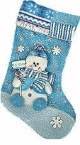 Blue Collection Designer Snowman Stocking