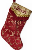 Burgundy Velvet V Cuff Personalized Stocking Gold Accents