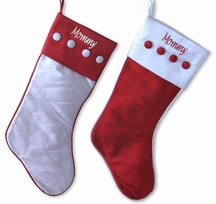 Buttoned Red and White Christmas Stocking
