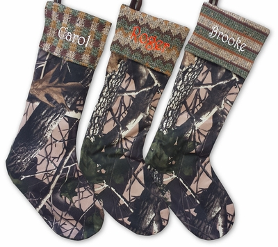 Skinny Camo Christmas Stockings  Embroidered for Hunters in Hunting Orange