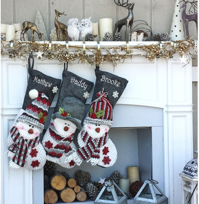 Children's Snowman Personalized Stockings Burgundy Grey Cozy Winter