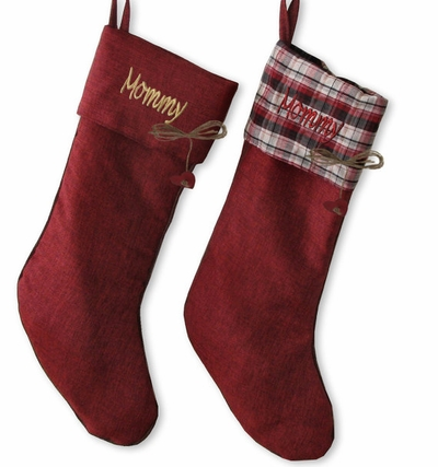 Chistmas Red Burlap Stocking- Free Personalization