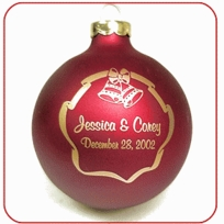Christmas Wedding Favors - Glass Ornaments