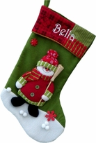 Colorful Snowman Christmas Stocking