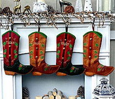 Country Western Personalized Christmas Stockings - Red