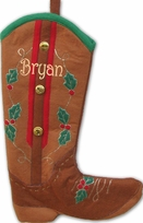 Cowboy Boot Personalized  Christmas Stockings - Brown