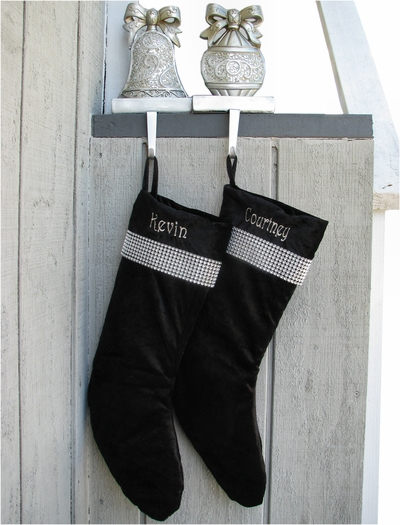 Dazzling Black Stocking with Glimmering Bordered Cuff